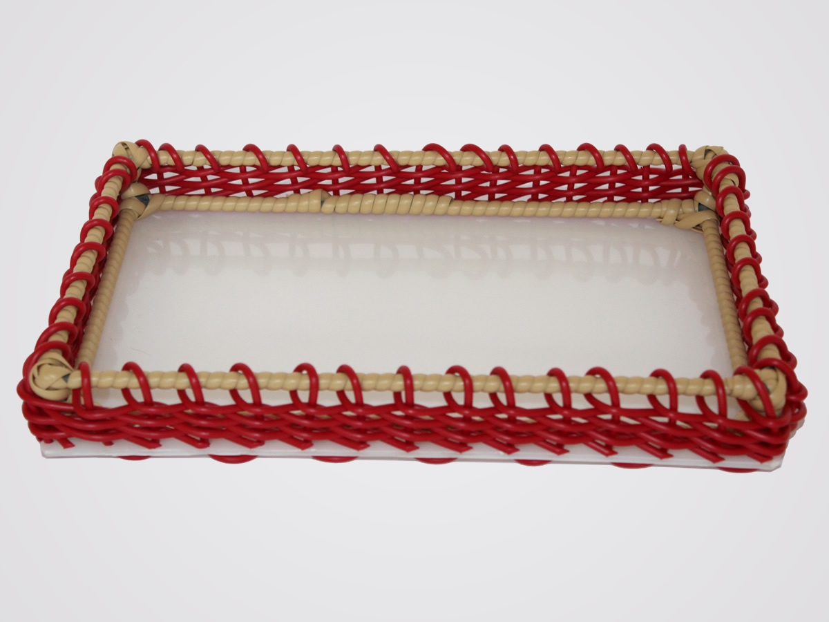 Expositor retangular na cor  vermelho c/ marfim